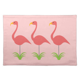 Classic Fun & Retro Coral Pink Lawn Flamingos Cloth Placemat