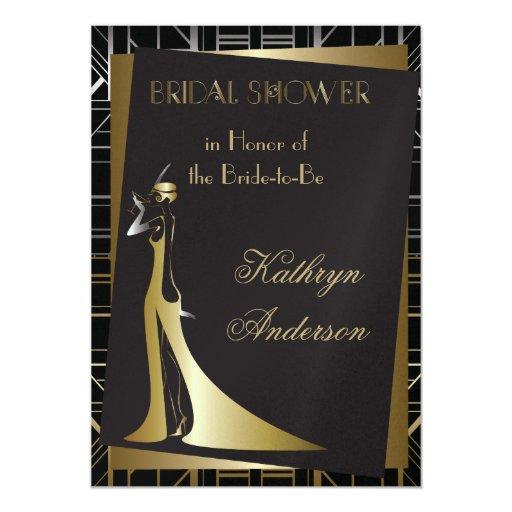 Classic gatsby deco bridal shower invitation zazzle for Classic bridal shower invitations