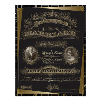 Classic Gatsby Deco Marriage Certificate Poster