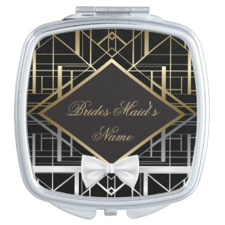Classic Gatsby Deco Wedding Bridesmaid Gift Mirrors For Makeup