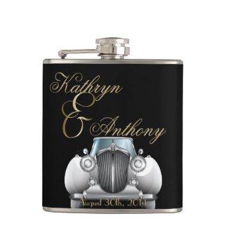 Classic Gatsby Deco Wedding Groom's Gift Flasks