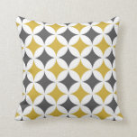 Classic Geometric Circles in Mustard and White Pillow