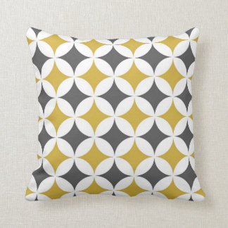 Classic Geometric Circles in Mustard and White Pillows