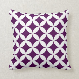 Classic Geometric Circles in Plum and White Pillow