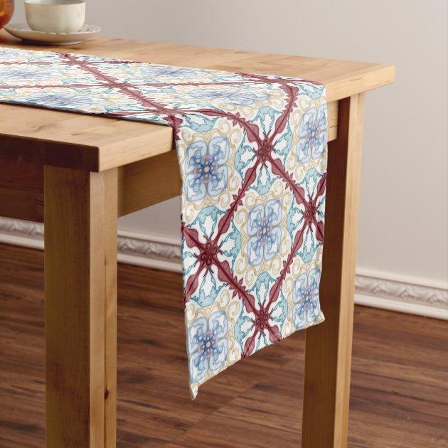 Classic Geometric Moroccan Design Table Runner 1 Zazzle