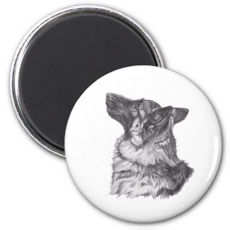 Classic German Shepherd profile Portrait Drawing Magnet