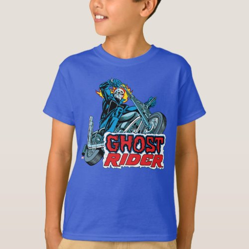 Classic Ghost Rider Riding Motorcycle T_Shirt