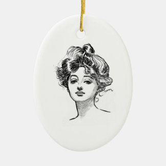 Classic Gibson Girl Ceramic Ornament