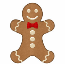 Classic Gingerbread Man Shaped Holiday Magnet