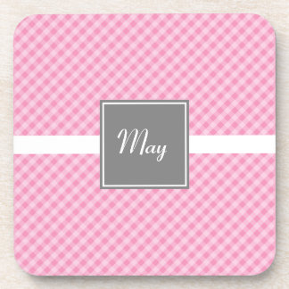 Classic Gingham Baby Pink with Gray Coasters