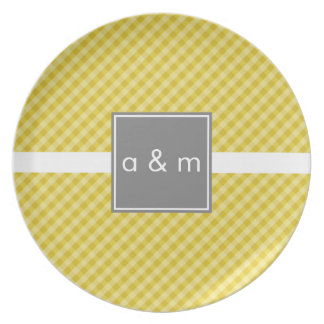Classic Gingham Gold with Gray Melamine Plate