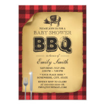 Classic Gingham Pig Roast BBQ Baby Shower Invitation