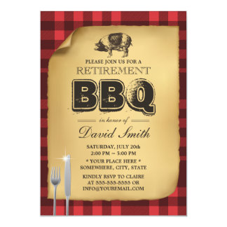 Classic Gingham Pig Roast Retirement Party BBQ Card