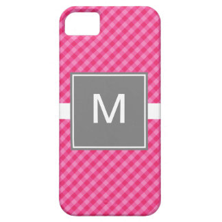 Classic Gingham Pink Gray iPhone 5 Case