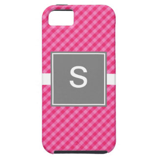 Classic Gingham Pink Gray iPhone 5 Tough Case