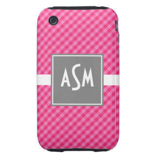 Classic Gingham Pink with Gray iPhone 3G/3GS Case
