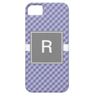 Classic Gingham Pink with Gray iPhone 5 Case