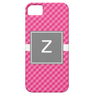 Classic Gingham Pink with Gray iPhone 5 ID Case