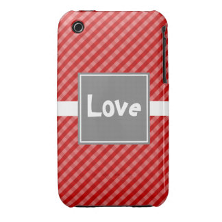 Classic Gingham Red and Gray iPhone 3 Case