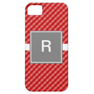Classic Gingham Red and Gray iPhone 5 Case