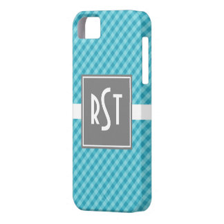 Classic Gingham Teal with Gray iPhone 5 Cases