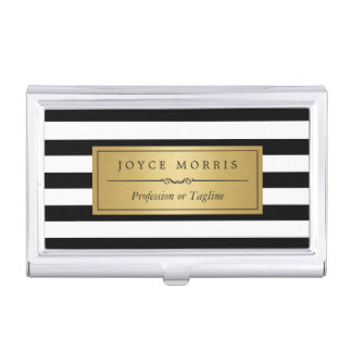 Classic Gold and Black White Stripes Personalized Case For Business Cards