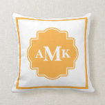Classic Gold and White Monogram Pillow