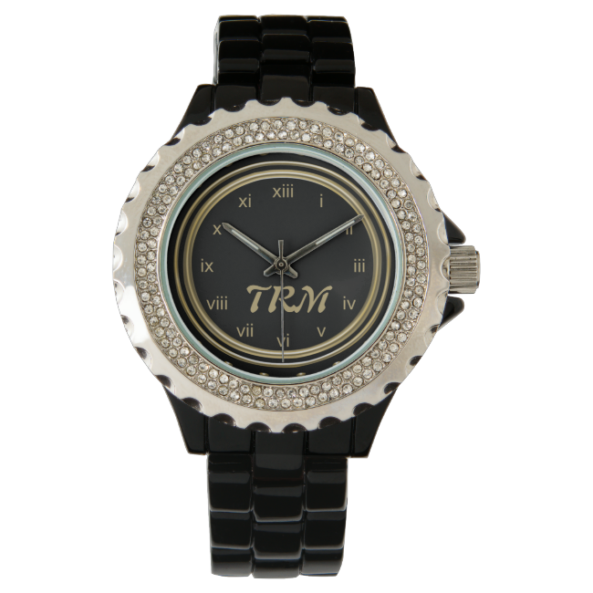 Classic Gold Black Monogram Watch