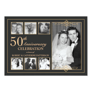 Classic Gold Amp Black Photo Wedding Anniversary Card