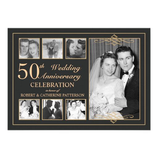 Classic Gold & Black Photo Wedding Anniversary Personalized Announcement