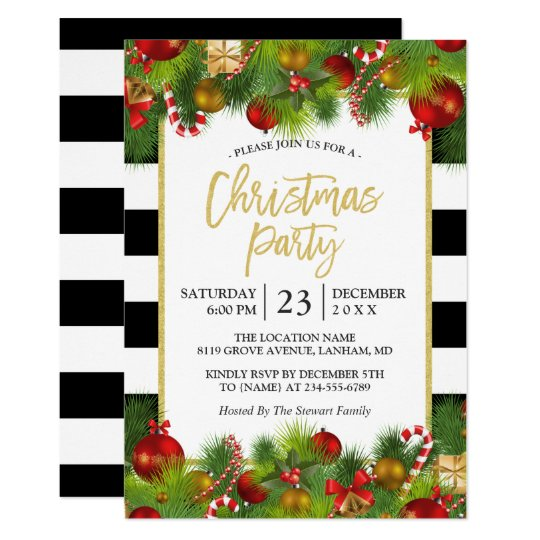 Classic Gold Black White Stripes Christmas Party Invitation