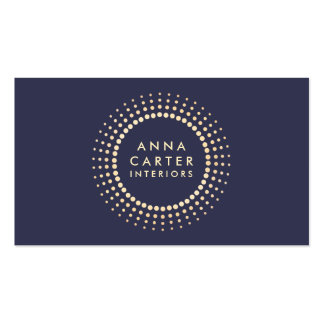 Classic Gold Circle Logo Muted Dark Navy Blue Business Cards
