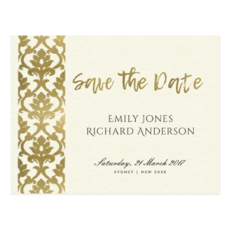 CLASSIC GOLD DAMASK FLORAL PATTERN SAVE THE DATE POSTCARD