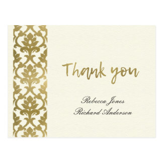 CLASSIC GOLD DAMASK FLORAL PATTERN THANK YOU POSTCARD