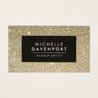 Classic Gold Glitter Makeup Artist Business Card
