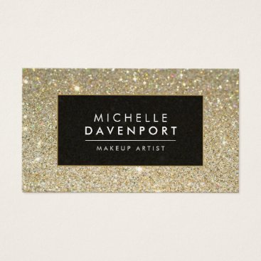1201am Classic Gold Glitter Makeup Artist Business Card