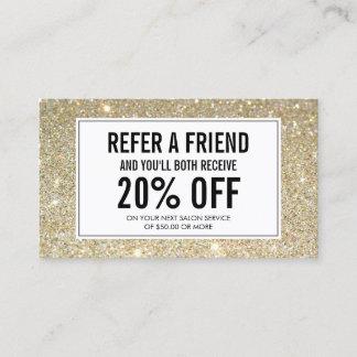 Classic Gold Glitter Salon Referral Card