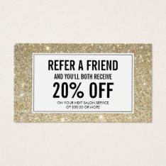 Classic Gold Glitter Salon Referral Card at Zazzle