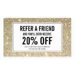 Classic Gold Glitter Salon Referral Card Double-Sided Standard Business Cards (Pack Of 100)