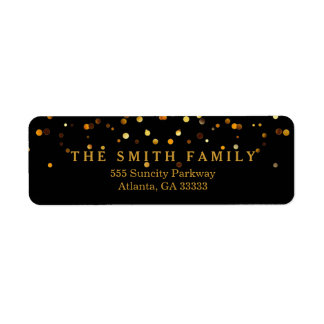 Classic Gold Glitters Dots Black Modern Label