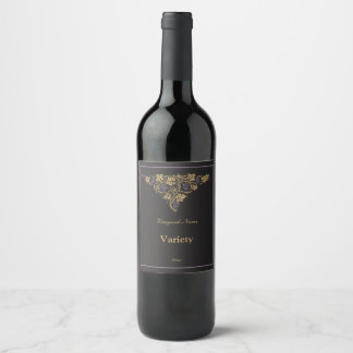 Classic Gold on Black Antique Wine Label