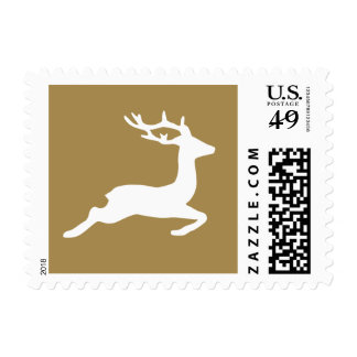 Classic Gold Reindeer Holiday Postage Stamp