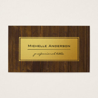 Classic Gold Rustic Wood Business Card