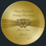 """Classic Golden 50th Anniversary Porcelain Plate<br><div class=""""desc"""">A Digitalbcon Images Design featuring a satin soft gold color and design theme with a variety of custom images, shapes, patterns, styles and fonts in this one-of-a-kind &quot;Classic Golden 50th Wedding Anniversary&quot; Porcelain Plate. This soft and satiny golden design comes complete with customizable text lettering to suit your own special...</div>"""