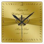 Classic Golden 50th Wedding Anniversary Wall Clock