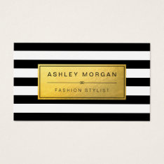 Classic Golden Label With Black White Stripes Business Card at Zazzle