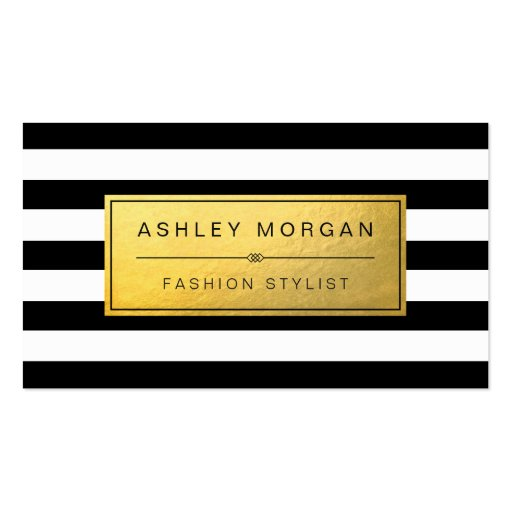 Classic Golden Label with Black White Stripes Double-sided Standard Business Cards (pack Of 100)