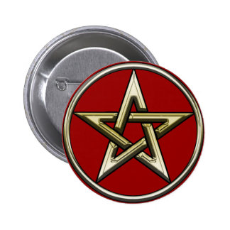Classic Golden Pentagram 2 Button