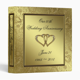 "Classic Golden Wedding Anniversary 1"" Binder"