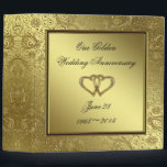 """Classic Golden Wedding Anniversary 2&quot; Binder<br><div class=""""desc"""">A Digitalbcon Images Design featuring a Gold and Black and Gold Flourish Frame design theme with a variety of custom images, shapes, patterns, styles and fonts in this one-of-a-kind &quot;Golden Wedding Anniversary&quot; 2&quot; Binder. This elegant and attractive design comes with customizable text lettering on the front AND the back and...</div>"""